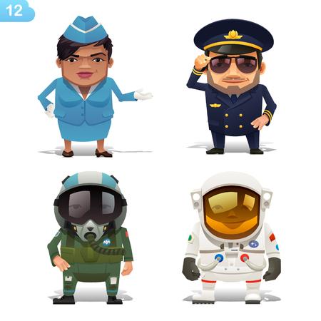 profession: Flight professions set Illustration