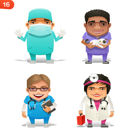 cartoon nurse: Medical professions set