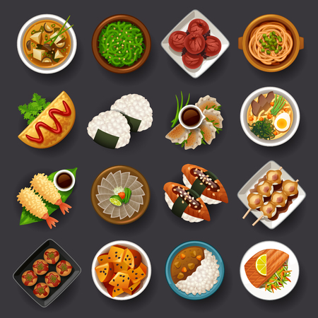 Japanese food icon set Çizim