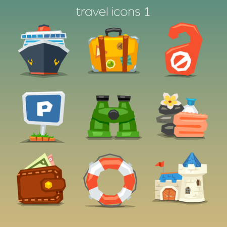 Funny travel icons-set 1