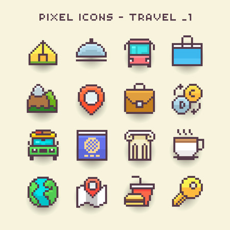 Pixel icons-travel 1 Illustration