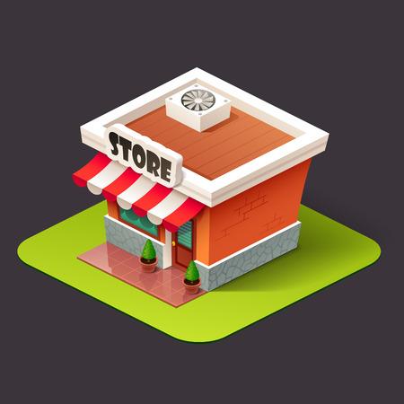 Icona negozio isometrica Archivio Fotografico - 64942748