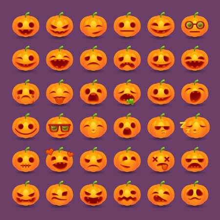 Halloween pumpkin emotions icon set Illusztráció