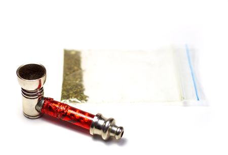 marijuana and a red pipe