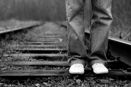people on the railway photo
