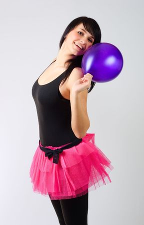 Girl with a purple balloon photo