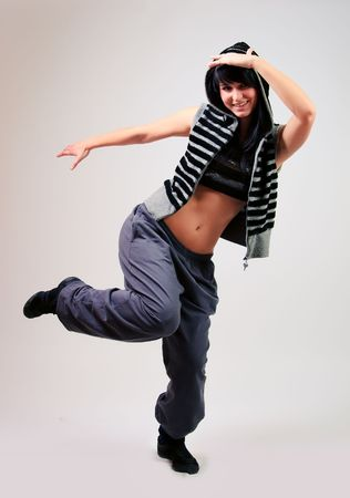 Young girl dancing modern dance photo