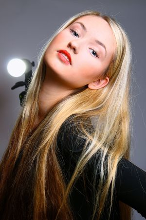 Beautiful stylish blonde; studio shot photo