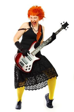 Young girl with a guitar on a white background photo
