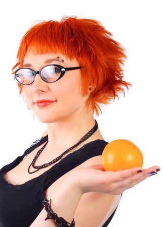 girl with an orange on a white background photo