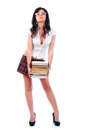 Young attractive sexy schoolgirl isolated over white background