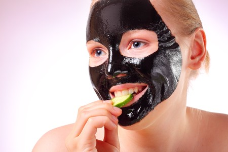 Woman with a face mask photo
