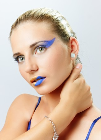 Model with art make up on white background Stock Photo - 7643725