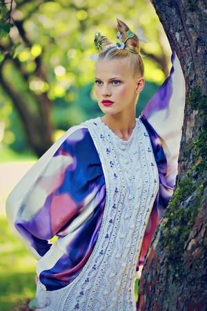 fantasy makeup: Young girl in nature, fantasy make-up