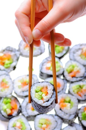 Japanese sushi , traditional japanese food photo