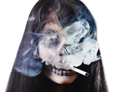 Gothic portrait of dead woman with cigarette photo