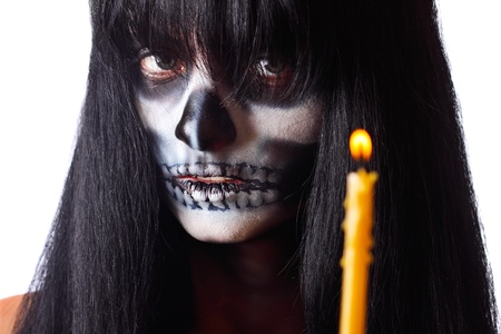 Gothic portrait of dead woman with candle 免版税图像