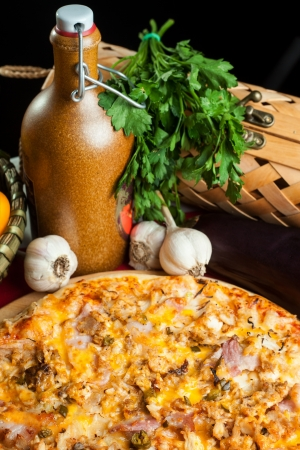 Italian pizza with ingredients photo