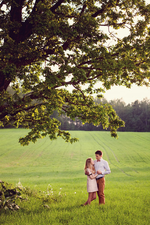 Young couple in love outdoor. photo