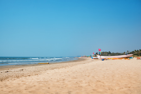 beach scene: Beach scene showing sand, sea and sky