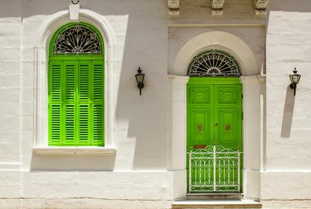Old windows doors and balconies on Malta Stok Fotoğraf