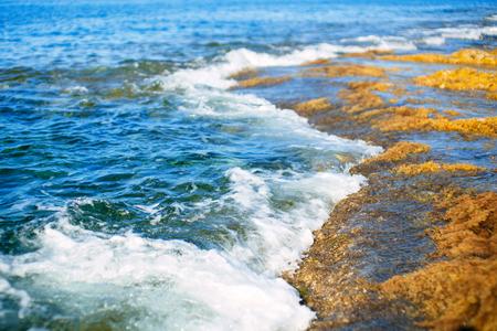 mediterranean culture: Sliema coastline and water waves Stock Photo