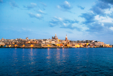 Malta,City of Valetta at night