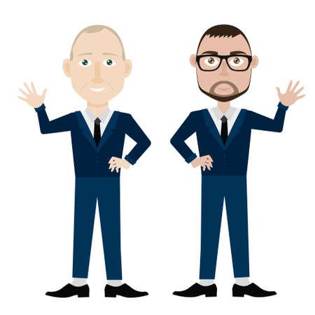 Office workers men in formal suits Vektoros illusztráció