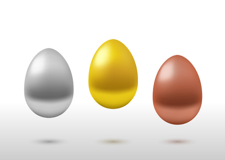 golden egg: Vector realistic set of eggs. Pedestal of gold, silver and bronze eggs on gray gradient background