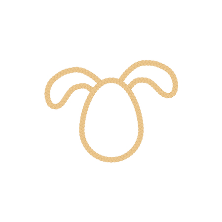 sihlouette: Egg silhouette with bunny ears. Easter sihlouette from rope. Illustration