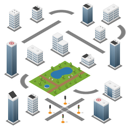 lake district: Set of isometric buildings, roads, park and traffic light.
