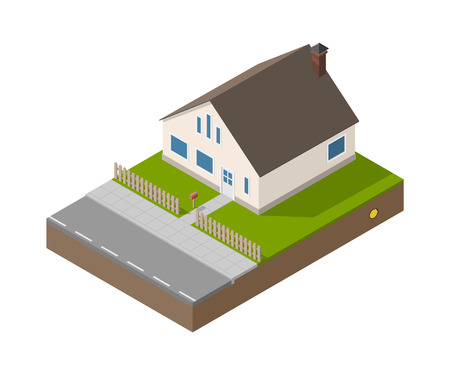 Isometric suburban beige house with door, windows and chimney. Building, fence, mailbox, road, garden and treasure. Vector simple estate isolated. Illustration