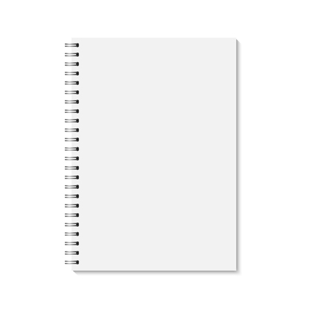 note pad: Vector realistic closed notebook. Vertical blank copybook with metallic silver spiral. Template (mock up) of organizer or diary isolated.