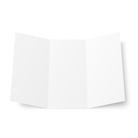 Vector blank white trifold booklet opened on white background. Front side. Tri folded paper sheet in A4. Mock up of empty cover or flyer isolated. 3D illustration