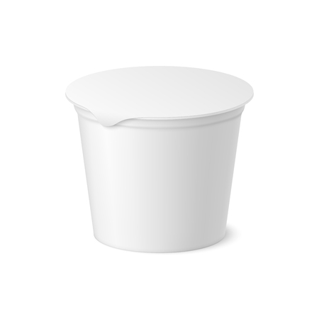 Vector realistic yogurt, ice cream or sour creme package on white backgrounnd. 3D illustration. Mock up of container with lid isolated. Template for your design. Side view. Diminishing perspective. Vettoriali