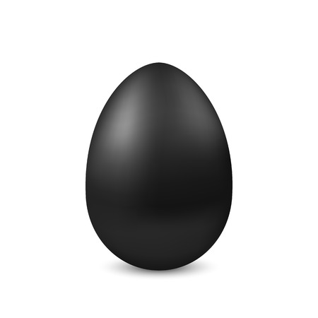 Vector realistic black egg isolated. Easter egg on white background. Holiday decoration for Easter holiday. Illustration