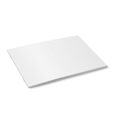White mock up of magazine vector isolated closed horizontal magazine, brochure, book or notebook template on white background in 3d illustration diminishing perspective.