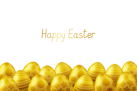 Vector Happy Easter greeting card with eggs. Text 'Happy Easter'. Self-made font. Golden painted easter eggs. 3D illustration