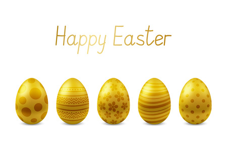 Vector Happy Easter greeting card with realistic eggs isolated. Five golden glossy metal easter eggs. Text Happy Easter. Self-made font. 3D illustration