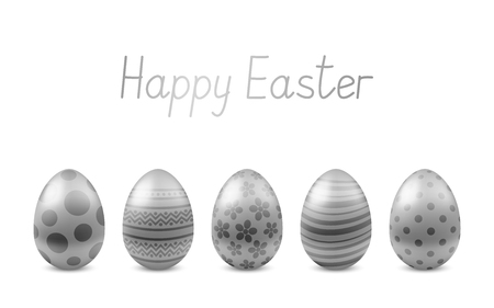 Vector Happy Easter greeting card with realistic eggs isolated. Five silver glossy metal easter eggs. Text 'Happy Easter'. Self-made font. 3D illustration 向量圖像