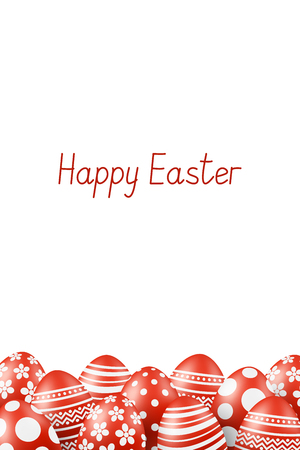 Vector Happy Easter greeting card with eggs. Text 'Happy Easter'. Self-made font. Red-white painted easter eggs. 3D illustration