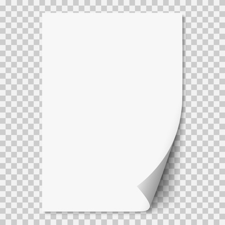 Vector white realistic paper page with curled corner. Paper sheet folded with soft shadows on light transparent background. A4 page mock up. 3d illustration. Template for your design.