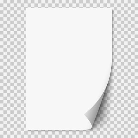 Weiße realistische Papierseite des Vektors mit gekräuselter Ecke. Papierblatt gefaltet mit weichen Schatten auf hellem transparentem Hintergrund. A4-Seiten-Mockup. Abbildung 3d. Vorlage für Ihr Design.