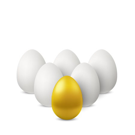 Leadership of golden egg. Vector golden single egg and group of white eggs behind. Group of realistic chicken eggs isolated with soft shadows on white background. 3D illustration Standard-Bild - 94311417