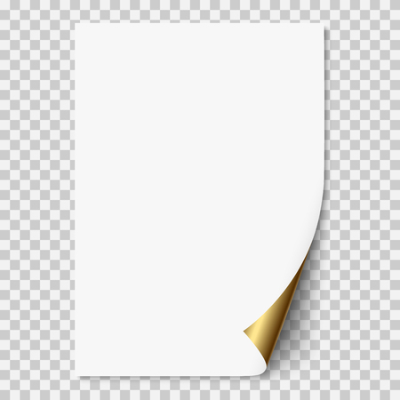 White realistic vector paper page with golden corner curled. Paper sheet folded with soft shadows on light transparent background. A4 page mock up, 3d illustration template for your design. Иллюстрация