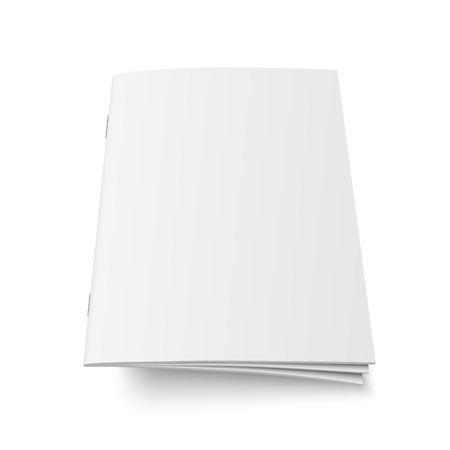 Mock up vector of book or magazine white blank cover isolated. Flying closed vertical magazine, brochure, booklet, copybook or notebook template on white background 3d illustration.