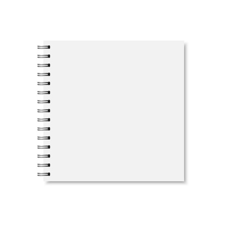 Vector white realistic closed notebook cover. Square blank notebook, copybook, brochure, menu with metallic silver spiral. Mock up of organizer or diary isolated.