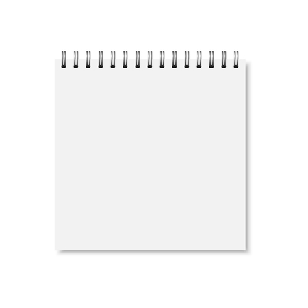 Vector white realistic closed notebook cover.