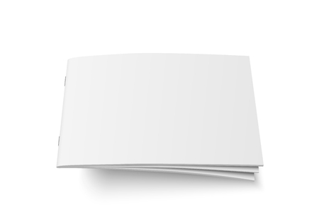 Vector mock up of book or magazine white blank cover isolated. Stock Illustratie