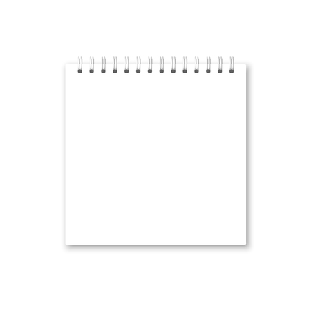 Vector realistic opened notebook cover. Square white metallic spiral bound blank notebook, copybook, brochure, menu. Template mock up of organizer or diary isolated.